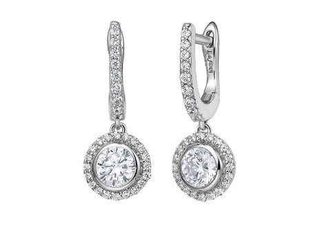 Lafonn Sterling Silver Simulated Diamond English Lock Halo Drop Earrings