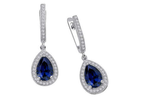 Lafonn Lady's Sterling Silver And Platinum Earrings Pear Created Sapphires