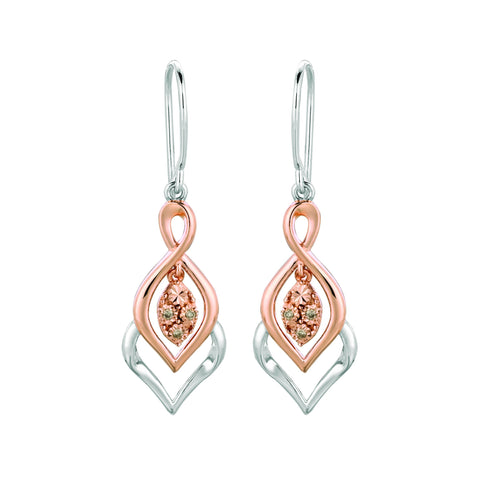 Pancis Gems Rose Gold Sterling Silver Earrings with 6 Round Cappuccino Diamonds