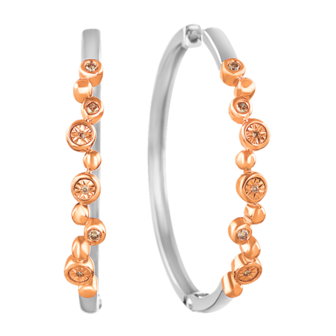 Pancis Gems Rose Gold Sterling Silver Earrings with 12 Round Cappuccino Diamonds