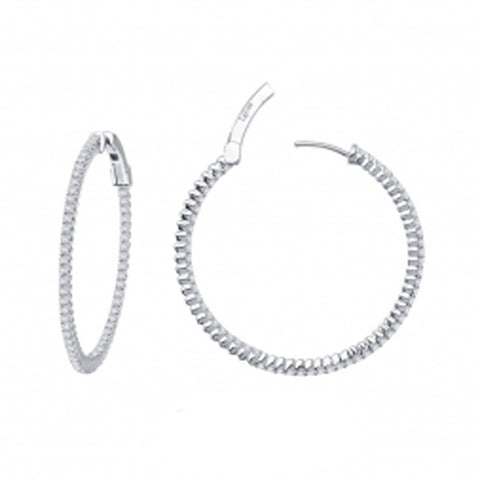 Lady's Sterling Silver And Platinum Inside/Outside Hoops Earrings With 1.72Tw Round Lassaire Simulated Diamonds