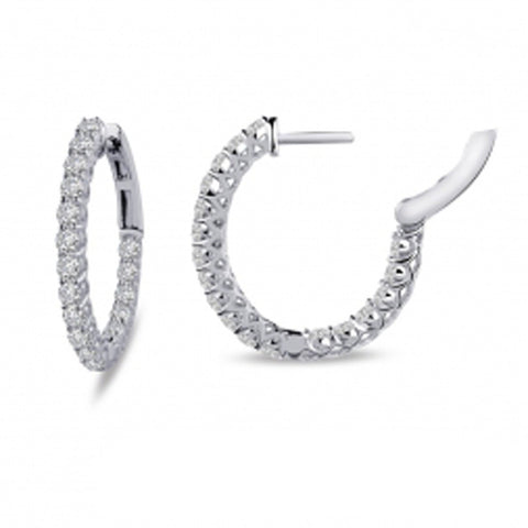 Lady's Sterling Silver And Platinum 1.18 Cttw Cz Hinged Oval Inside Out Hoops 16Mm Earrings