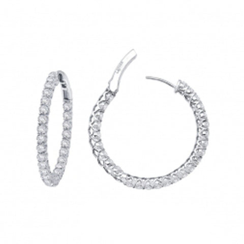 Lady's Sterling Silver And Platinum 2.70 Cttw Cz Open Hinged Round Inside Out Hoops 25Mm Earrings