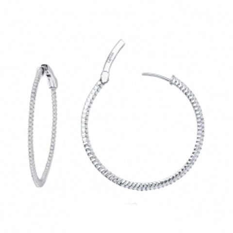 Lady's Sterling Silver And Platinum 1.36 Cttw Cz Open Hinged Round Inside Out Hoops 35Mm Earrings