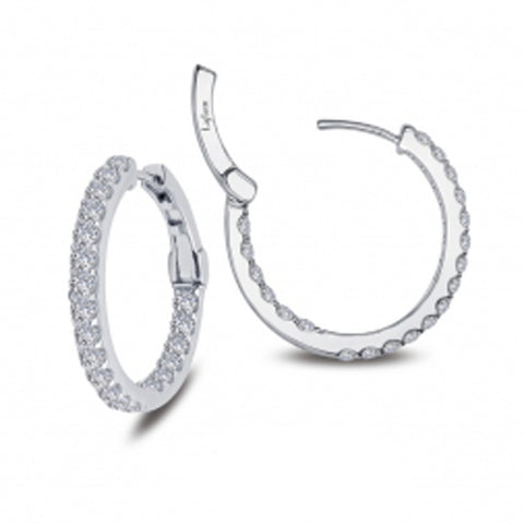 Lady's Sterling Silver And Platinum 1.60 Cttw Cz Open Hinged Round Insside Out Hoops 20Mm Earrings