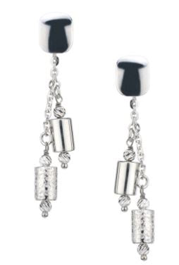 Lady's Sterling Silver Tubular Double Drop Earrings.