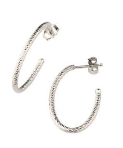 Lady's Sterling Silver Small Oval Sparkle Hoop Earrings.