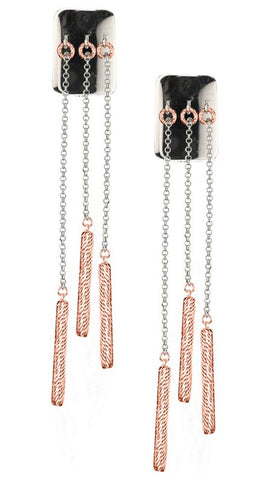 Lady's Sterling Silver Rose Gold Plated Tab & Tube Earrings.