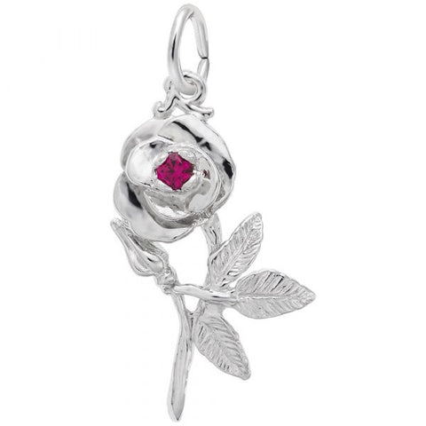 Rose with Stone Charm