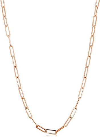"Sterling Silver Necklace made of Paperclip Chain (3mm), Measures 17"" Long, Plus 2"" Extender for Adjustable Length, Rose Gold Plated"