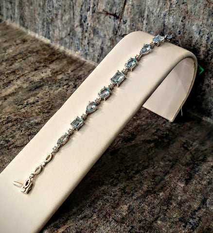 Kandace's Corner 14K Aquamarine and Diamond Bracelet