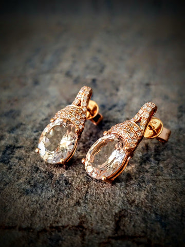 Traveling Trunk Show Rose Gold and Morganite Earrings