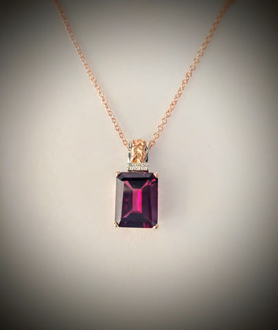 Traveling Trunk Show Rose Gold and Rhodolite Garnet Necklace