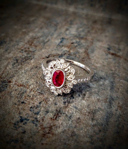 Traveling Trunk Show Vintage Inspired Ruby Ring