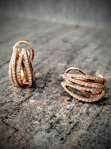 Traveling Trunk Show Rose Gold and Diamond Earrings