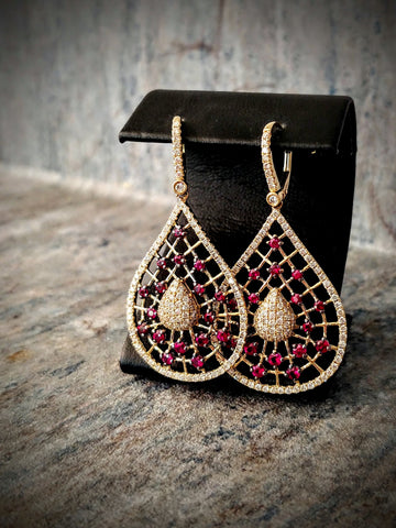 Traveling Trunk Show Gold and Ruby Earrings