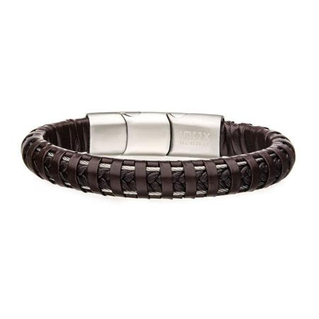 Brown Leather with Steel Clasp Bracelet