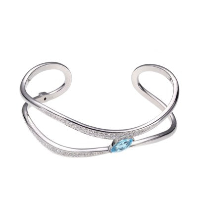 ELLE Sterling Silver Cuff with Blue Topaz B10027WBTZ