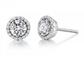 Month of April Sterling Silver Diamond Birthstone Earrings.