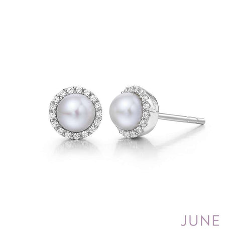 Lafonn Pearl Birthstone Halo Stud Earrings