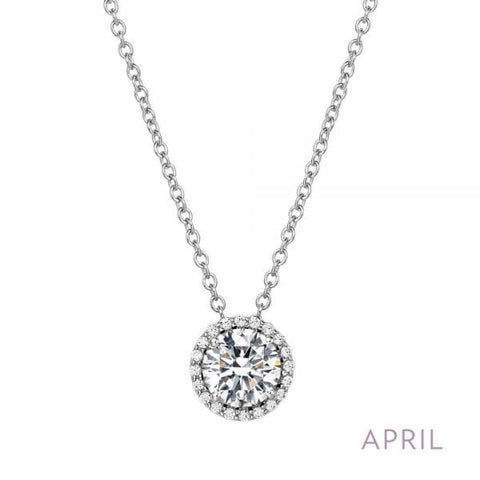 Lafonn Sterling Silver & Platinum April Birthstone Halo Pendant Necklace