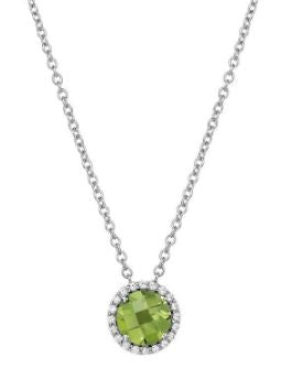 Month of August Sterling Silver Peridot Birthstone Pendant.