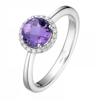 Lady's Sterling Silver Amethysts Birthstone Ring Size 7.