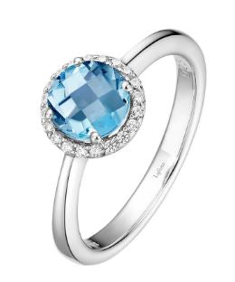 Month of December Sterling Silver Blue Topaz Birthstone Ring Size 7.