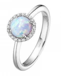 Month of October Sterling Silver Opal Birthstone Ring Size 7.