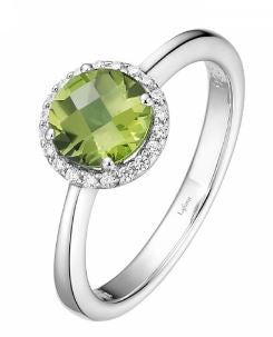 Month of August Sterling Silver Peridot Birthstone Ring Size 7.