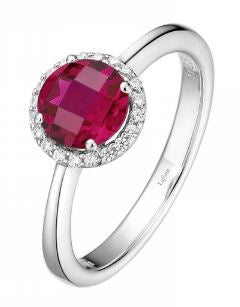 Month of July Sterling Silver Ruby Birthstone Ring Size 7.