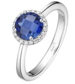 Month of September  Sterling Silver Sapphire Birthstone Ring Size 7.