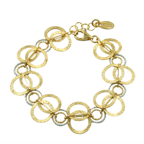 Frederic Duclos Sterling Silver and Yellow Gold Plated Multi Ring Bracelet Length 7