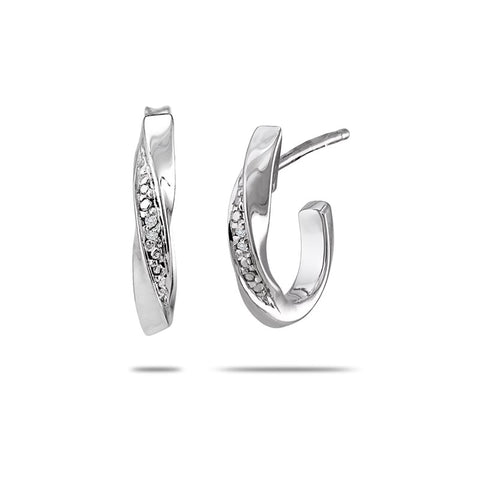 Bentelli Twisted Sterling Silver Hoop Earrings E2573