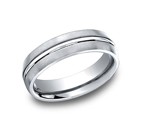 Benchmark Cobalt Chrome Comfort Fit Wedding Band with High Polished Center and Brushed Sides
