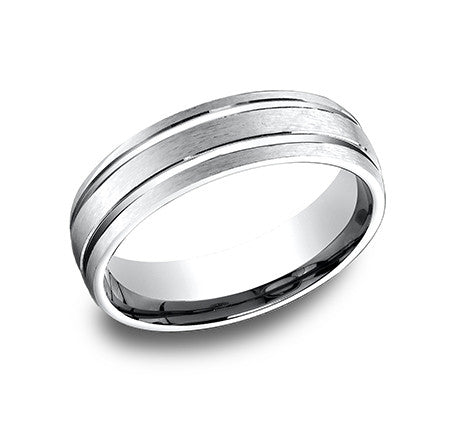 Benchmark 14k White Gold Comfort Fit Carved Wedding Band With Satin Finish Center And Two High Polish Lines