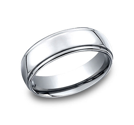 Benchmark Cobalt Chrome Comfort Fit High Polish Wedding Band with Raised Center