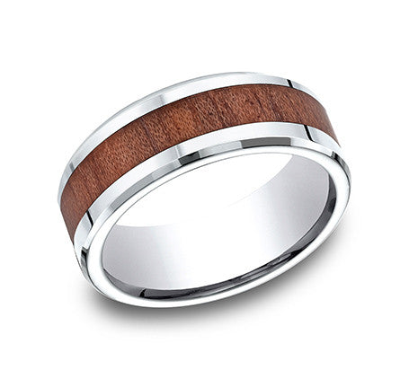Benchmark Cobalt Chrome Comfort Fit Wedding Band With Wood Grain Inlay and Beveled Edges