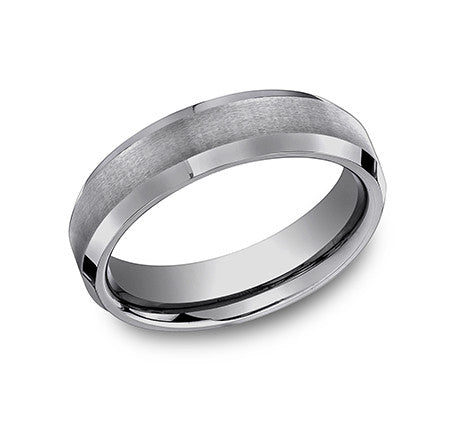 Benchmark Tungsten Comfort Fit Wedding Band With Brushed Center, High Polished Sides and Beveled Edge