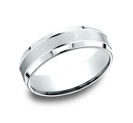 Benchmark 14k White Gold Comfort Fit Wedding Band With Satin Finish Center And High Polish Beveled Edge Sides