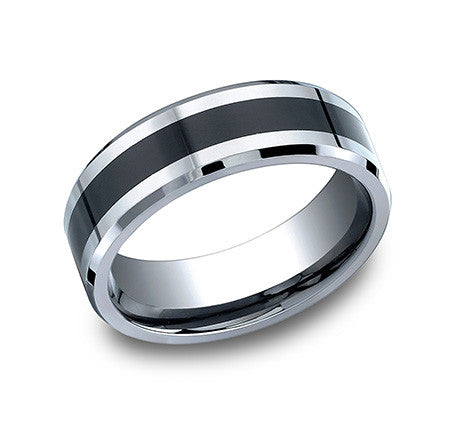 Benchmark Cobalt Chrome Comfort Fit High Polish Wedding Band with Black Ceramic Inlay and Beveled Edges