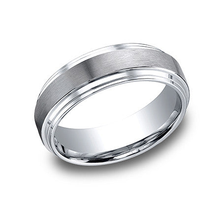 Benchmark 14k White Gold Comfort Fit Wedding Band With Satin Finish Center And High Polish Double Edge Sides