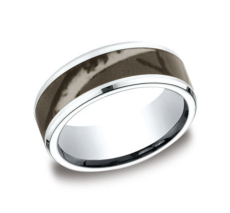 Benchmark Cobalt Chrome Comfort Fit Wedding Band with Camouflage Center