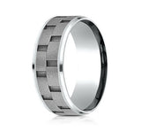Benchmark Cobalt Chrome Comfort Fit  Wedding Band With Matte Brick Pattern Center and High Polish Sides