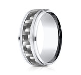 Benchmark Cobalt Chrome Comfort Fit Carved Wedding Band With High Polish Sides and Carbon Fiber Inlay