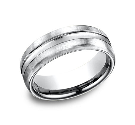 Benchmark 14k White Gold Comfort Fit Carved Wedding Band With High Polish Center And Satin Finish Sides