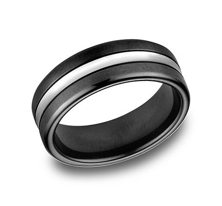 Benchmark Black Cobalt and Cobalt Chrome Comfort Fit Wedding Band With Black on the Outside and Chrome in the Middle