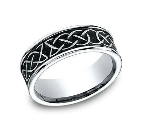 Benchmark Cobalt Chrome Comfort Fit Wedding Band With Celtic Design