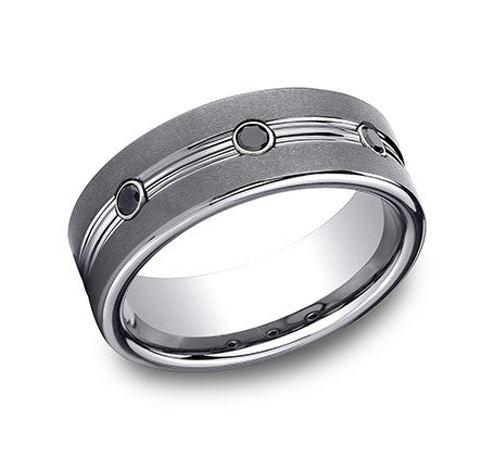 Benchmark Tungsten Comfort Fit Wedding Band With Satin Sides, High Polished Center and 0.20 CTW Burnish Set Round Brilliant Black Diamonds.