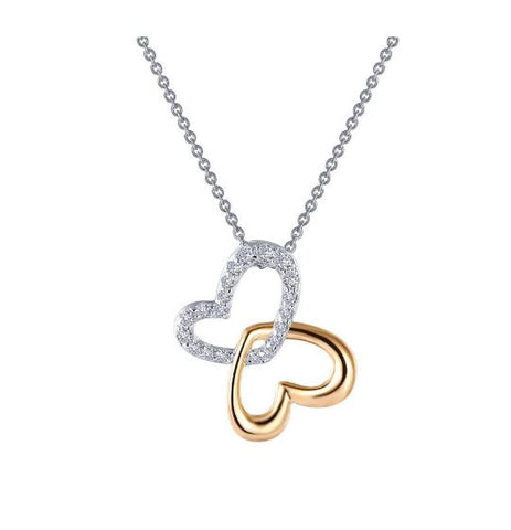 Lafonn Adjustable Two-Tone Double-Heart Shadow Necklace N0141CLT